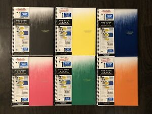 6 Pack Five Star Spiral Notebooks 1 Subject 100 College Ruled Sheets