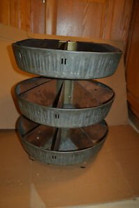 Vtg Metal Rotating Storage Parts Bin Industrial Hardware Store Display Lazysuzan