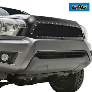 2012 2015 Toyota Tacoma Grille Rivets Studs Black Ss Wire Mesh Matte Black Shell