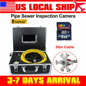Us 50m 164ft Sewer Camera Pipe Pipeline Drain Inspection Snake 7 Lcd 8gb Dvr