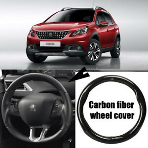 For Peugeot 2008 Car Carbon Fiber Leather Steering Wheel Cover Sport Racing