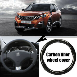 For Peugeot 3008 Car Carbon Fiber Leather Steering Wheel Cover Sport Racing
