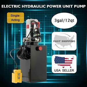 12 Volt Double Acting Hydraulic Pump For Dump Trailer 15 Quart Metal Reservoir