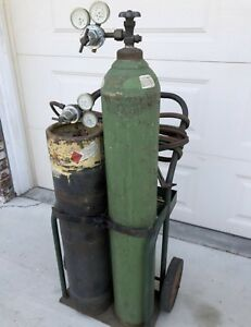 Large Oxy Acetylene Welding Cutting Torch Kit Tanks Local Ca Pickup