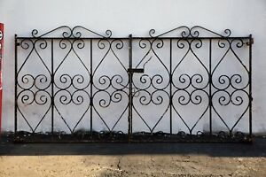 Pair Of Antique Solid Wrought Iron Gates With Scroll Design