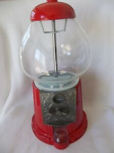 Red Gumball Machine Bank Gum Ball Dispenser Vintage Retro Candy Nut Vending Coin