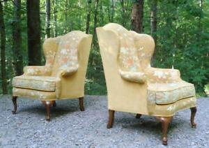 Pair Vintage Drexel Heritage Chinoiserie Asian Birds Wingback Chairs Excellent
