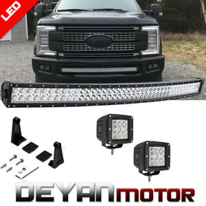 Ford F250 F350 Super Duty Front Bumper 40 42 Inch Curved Led Light Bar Combo