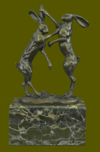 Art Deco Championship Between Two Hare Bronze Sculpture Marble Statue Figurine
