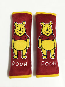 Winnie The Pooh Disney Car Accessory 2 Pcs Seat Belt Shoulder Pad Covers Red
