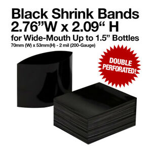 Black Shrink Bands 70mm X 53mm Double Perforation For Wide mouth Bottles 2mil