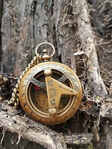 Vintage Push Button Sundial Nautical Brass Compass With Chain Engraved Compass