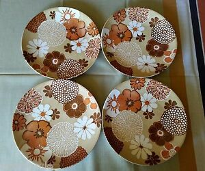 4 Rare Vintage Royal China Hawaiian Flowers Dinner Plates Luau Orange Tiki Bar