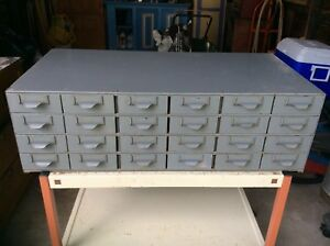 Vintage Lyon Industrial Metal Storage Parts Cabinet Bin 24 Drawers