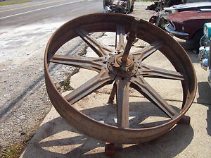 Antique Giant 5 Steel Wheel Grist Mill Pulley Vintage Steampunk Wythe Co Table