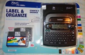 Brother P touch 1890c Label Maker Set With Bonus Tape 6 Aa Batteries Organize