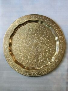 Gorgeous Antique Middle Eastern Islamic Engraved Solid Heavy Brass Tray 22 56cm
