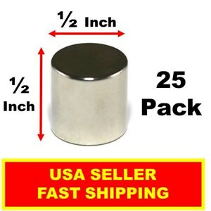 Neodymium Magnet Disc 1 2 Inch N52 Super Strong Rare Earth Cylinder 25 Pack