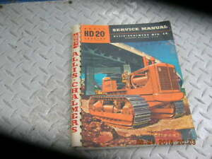 1955 Allis chalmers Hd 20h Hd20 Crawler Tractor Shop Service Manual Tractors