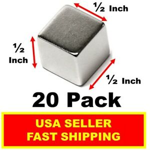 Neodymium Cube Magnet 1 2 Inch N52 super Strong Rare Earth 20 Pack