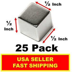 Neodymium Cube Magnet 1 2 Inch N52 super Strong Rare Earth 25 Pack