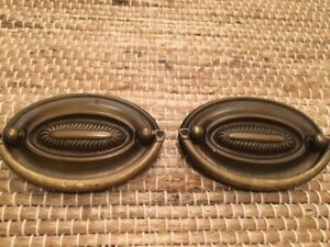 Antique Brass Drawer Pulls Set Of 2