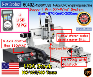 usa 4 Axis Usb Cnc 6040 Router 1 5kw Spindle Engraving Milling Cutting Machine