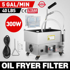 22l Oil Filter Oil Filtration System Cart Drain Type Fryers Filtering Machine