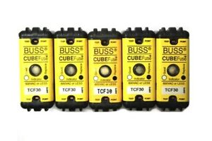 lot Of 5 Bussman Buss Tcf30 Cube Fuse Dual Element Time Delay Current Limiting