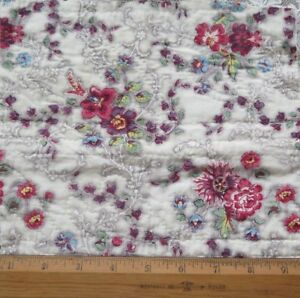 Antique 1840 English Block Printed Floral Chintz Cotton Quilted Fabric 10 Lx9 W