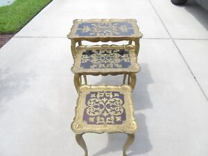Hollywood Regency Gold And Black Florence Italy Nesting Stacking Tables