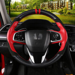 Black Red Leather Car Hand Stitched Steering Wheel Cover For Honda Civic 10th