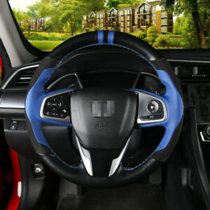 Black blue Leather Car Hand stitched Steering Wheel Cover For Honda Civic 10th
