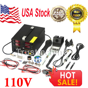 909d Rework Soldering Station Hot Heat Air Gun Dc Usb Power Supply 110v Ac Usa
