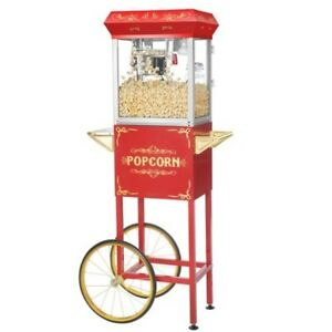 Great Northern Popcorn Red Foundation Popcorn Popper Machine Cart 4 Ounce