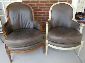 Pair Of Vintage Baker Furniture Mid Century Barrel Back Club Chairs Leather