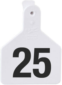 Z Tags Calf White Numbered Ear Tags 101 125