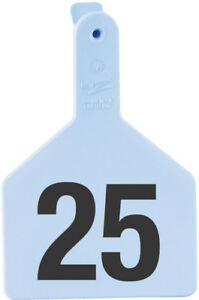 Z Tags Cow Ear Tags Blue Numbered 76 100