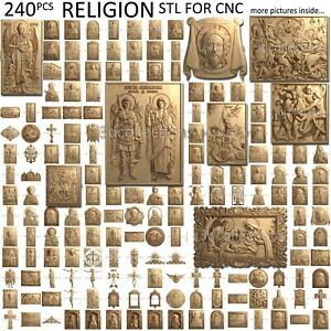 3d Stl Model Cnc Router Artcam Aspire 230 Pcs Religion Icon Pack Basrelief