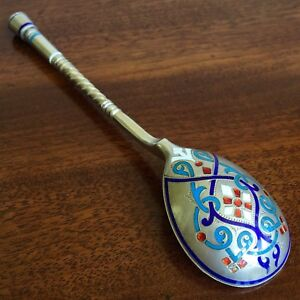 Authentic Great Champleve Enamel Spoon Silver 84 Russian Imperial Antique Russia