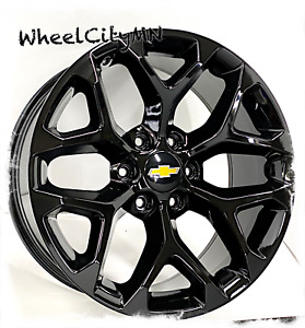 20 Inch Gloss Black 2016 2015 Snowflake Chevy Tahoe Ltz Oe Replica Wheels 6x5 5