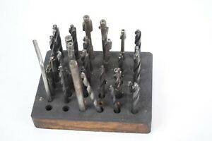 Large Lot Of Counter Bore Bits In Wooden Stand