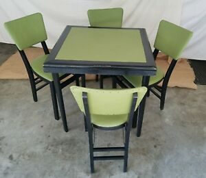 Vintage Stakmore Folding Table 4 Chairs Mid Century Modern Lime Green Black