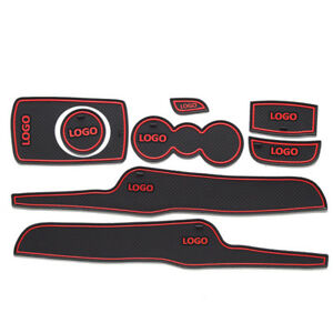 1set Interior Red Door Mat Cup Pads Holder Gate Slot Pad For Ford Fiesta 09 14
