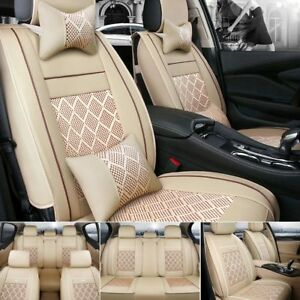 Us Car Seat Cover Pu Leather Mess 5 Seats Cushion Sedan Suv Front Rear W Pillows