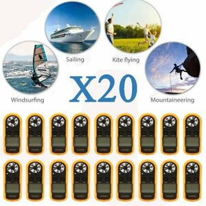 Lot 20 Digital Lcd Anemometer Air Wind Speed Gauge Test Temperature Thermometer