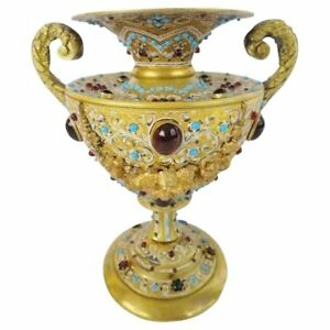 Austrian Jeweled Bronze Double Handle Enamel Urn