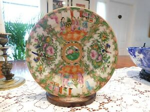 1900 Chinese Export Canton Rose Medallion Porcelain Bowl Plate
