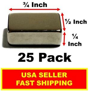 Neodymium Block Magnet 3 4 Inch 1 2 Inch 1 4 Inch N52 super Strong 25 Pack