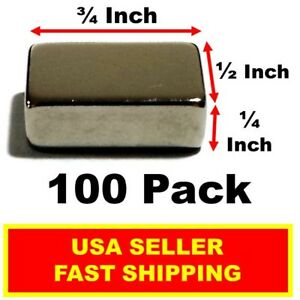 Neodymium Block Magnet 3 4 Inch 1 2 Inch 1 4 Inch N52 super Strong 100 Pack